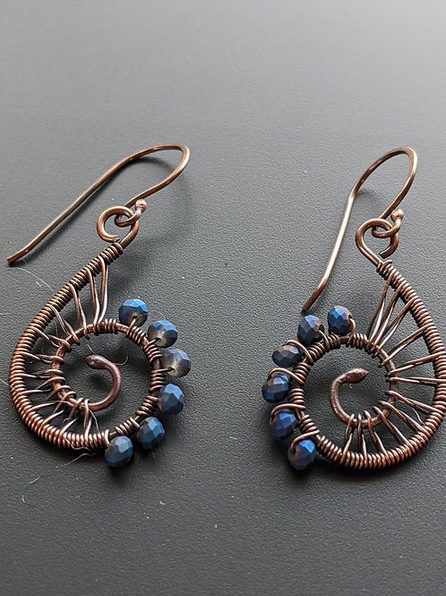 Small copper spiral earrings