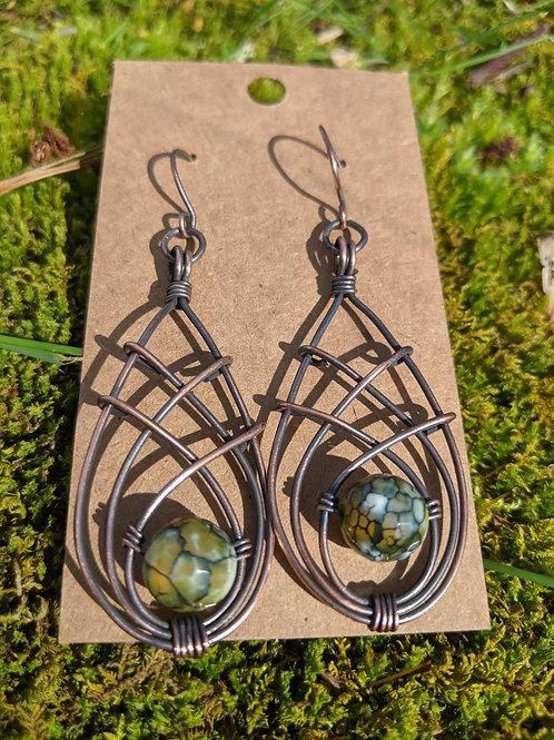 Triple copper  teardrop earrings: dragon vein jasper