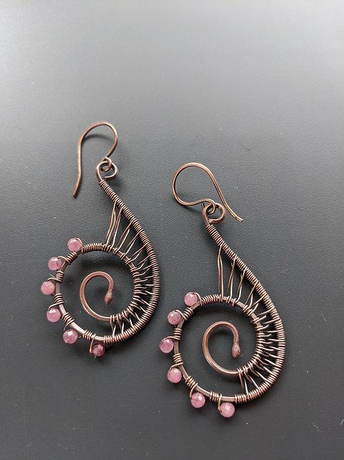 Copper spiral earrings: pink tourmaline