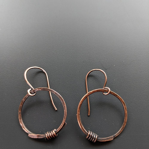 Copper hammered single hoops, wired