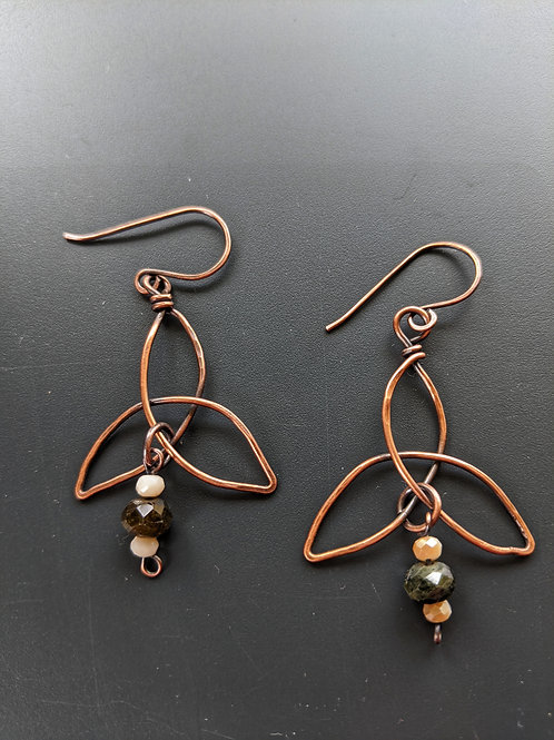 triquetra earrings with tourmaline