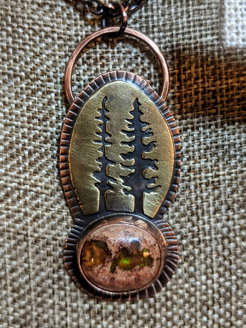 mixed metal: pine trees and Mexican opal