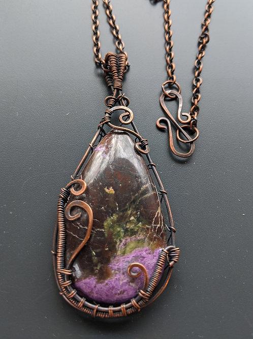 Copper wire-wrapped stichtite necklace