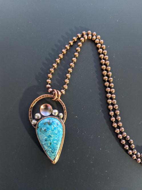 Mixed metal turquoise pendant
