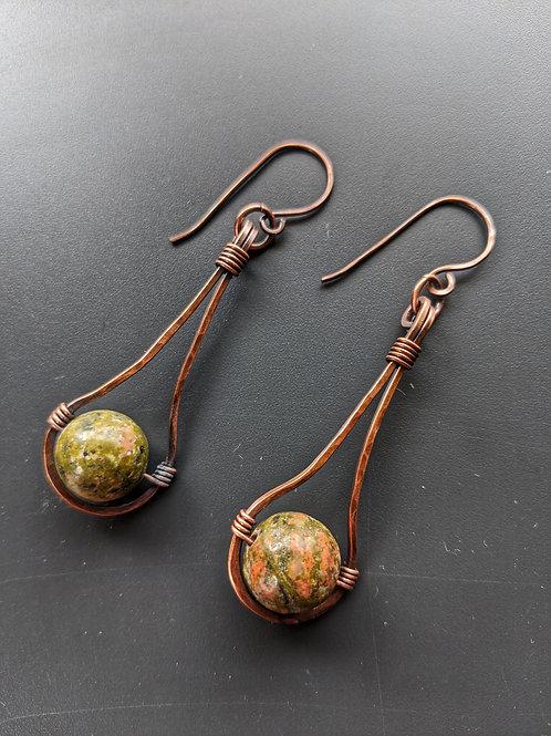 Hammered copper pendulums: dragons blood jasper