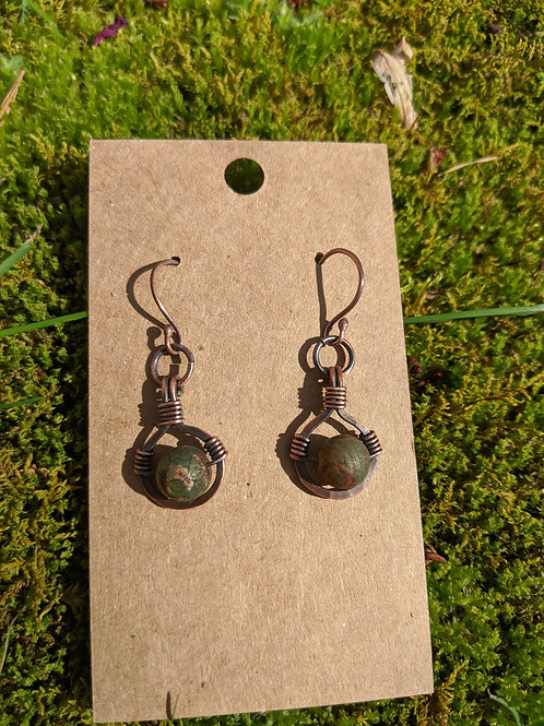 Copper Tibetan agate drop earrings