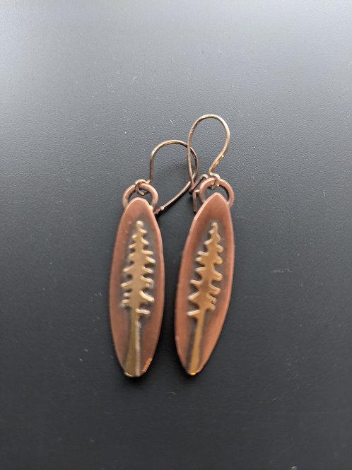 Little lone pine earrings: mixed metal