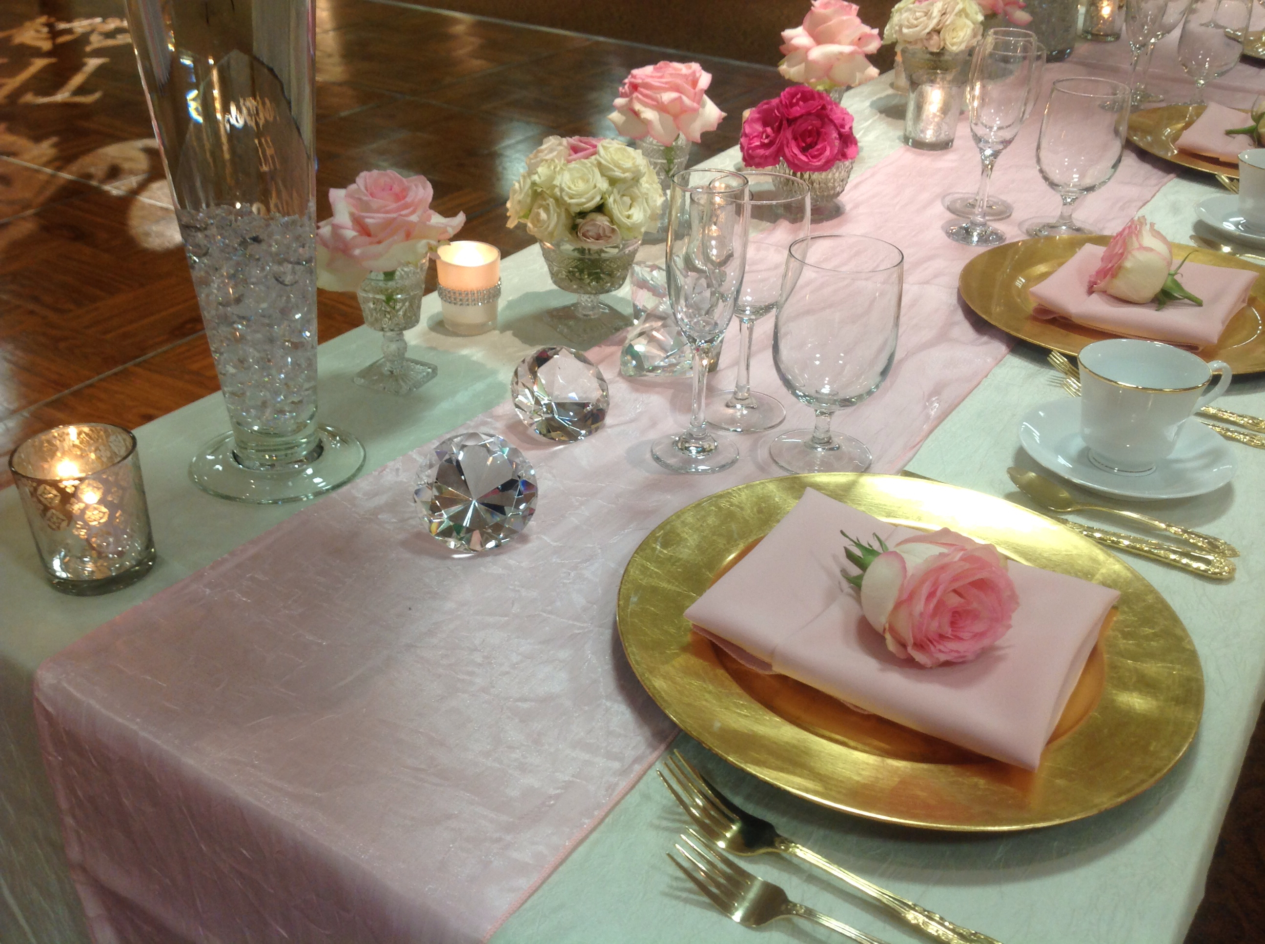 """Pink Champagne"" table setting"