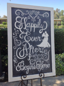 """""""Happily Ever After"""" chalk board"""