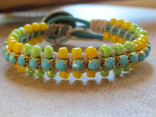 Bohemian Leather Bracelet with Rhinestones and Beads 8