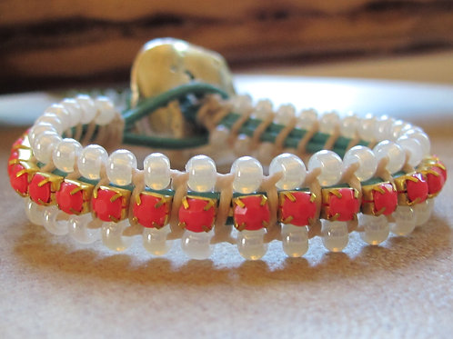 Bohemian Leather Bracelet with Rhinestones and Beads 10