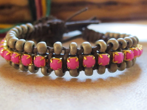 Bohemian Leather Bracelet with Rhinestones and Beads 3