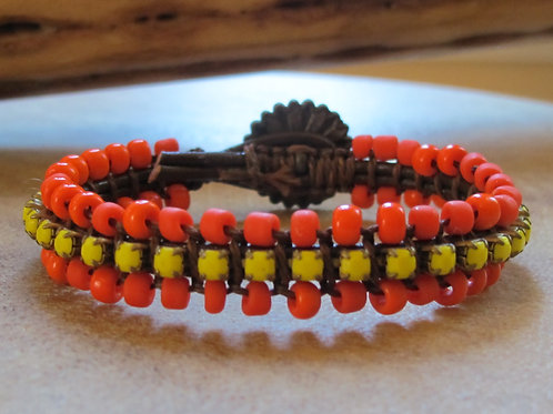 Bohemian Leather Bracelet with Rhinestones and Beads 7