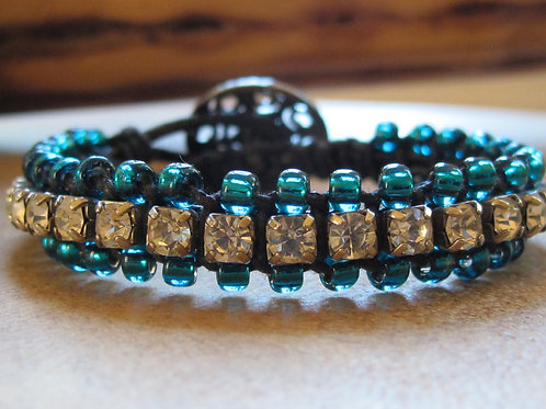 Bohemian Leather Bracelet with Rhinestones and Beads 6