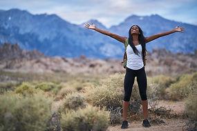 female hiker at alabama hills park with