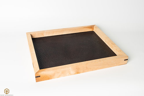 Birdseye Maple and Oil Tanned Leather Pocket Tray