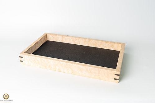 Quilted Maple and Oil Tanned Leather Pocket Tray