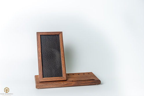 Walnut and Leather Wireless Phone Charger