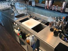 Bar Hotel Edelstahl Cocktail Kaffee Kuehltheke Einchiebekuehlpult