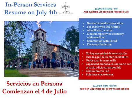 In-Person Service! July 4