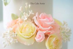 Pastel Flower Wedding Cake - Close up of Handmade Flowers 2_edited