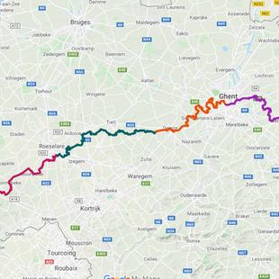 GR128 Vlaanderenroute - Kaart