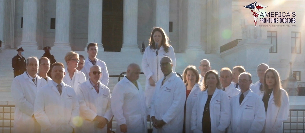 Image of 16 of America's Front Line Doctors Standing on the Capitol Steps.