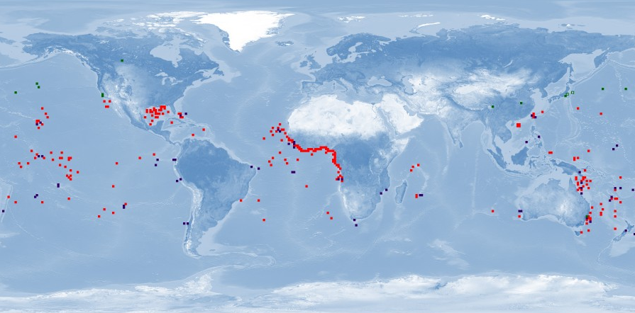 A map of where the cookie cutter shark has been observed, which includes Central America, west Africa, South America, and many islands in the Pacific Ocean