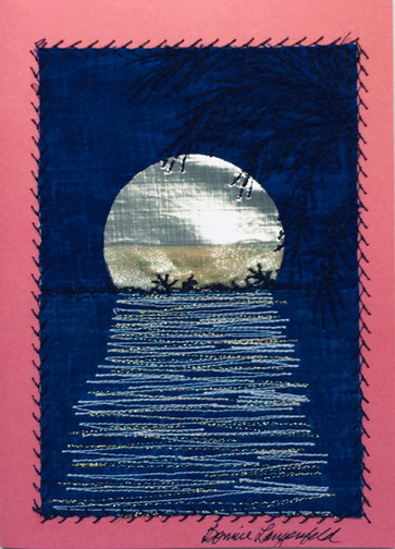 Silver and dyed silk moon