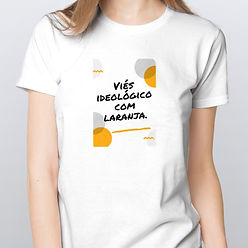 Camiseta Feminina Viés Ideológico com Laranja
