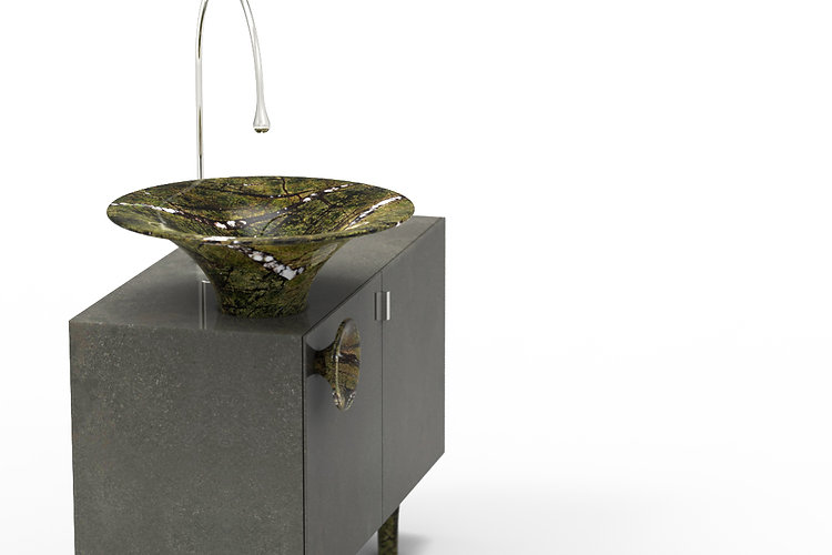 lavabo in marmo a forma conica con portasciugamani e armadietto