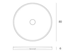 Disegno tecnico piatto doccia Entity Circle shower 1 posizionabile in appoggio al pavimento sia per interni  che per docce esterne in marmo emperador brown con copripiletta in pietra.
