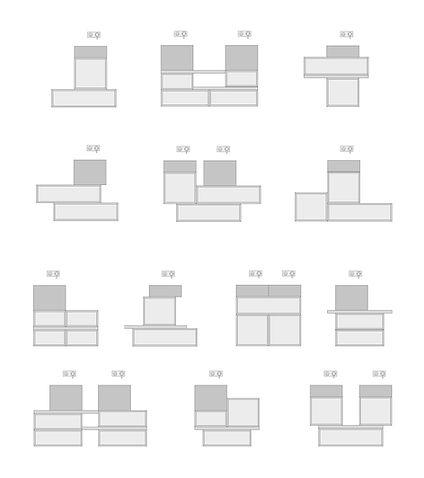 Schema composizioni. Sistema bagno componibile in marmo con lavabi assemblati e contenitori disponibili con o senza cassetti interni.