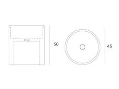 Disegno tecnico lavabo Entity Circle medium da appoggio a massello in marmo emperador brown disponibile con  copripiletta in pietra.