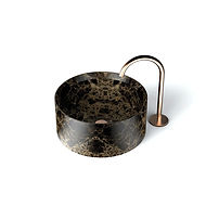 Lavabo Entity Circle small da appoggio a massello in marmo emperador brown disponibile con  copripiletta in pietra.