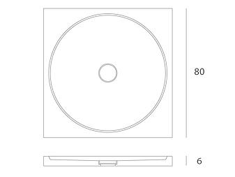 Disegno tecnico piatto doccia Entity Circle shower 1 posizionabile in appoggio o a filo pavimento in marmo  emperador brown con copripiletta in pietra.