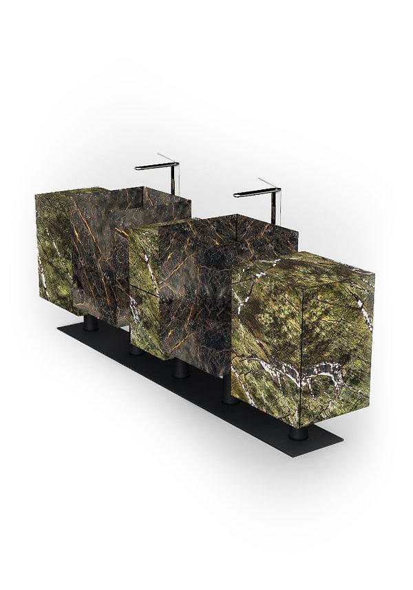 lavabi in marmo a forma cubica rettangolare con  cassettiere e mobiletti
