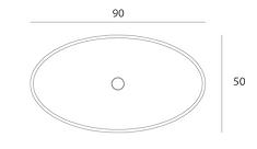 Disegno tecnico lavabo Entity Ovale small da appoggio a massello in marmo carrara CD disponibile con copripiletta in pietra.