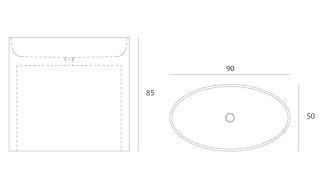 Disegno tecnico lavabo Entity Ovale high freestanding a massello in marmo carrara CD disponibile con copripiletta in pietra.