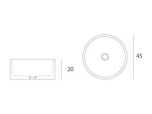 Disegno tecnico lavabo Entity Circle small da appoggio a massello in marmo emperador brown disponibile con  copripiletta in pietra.
