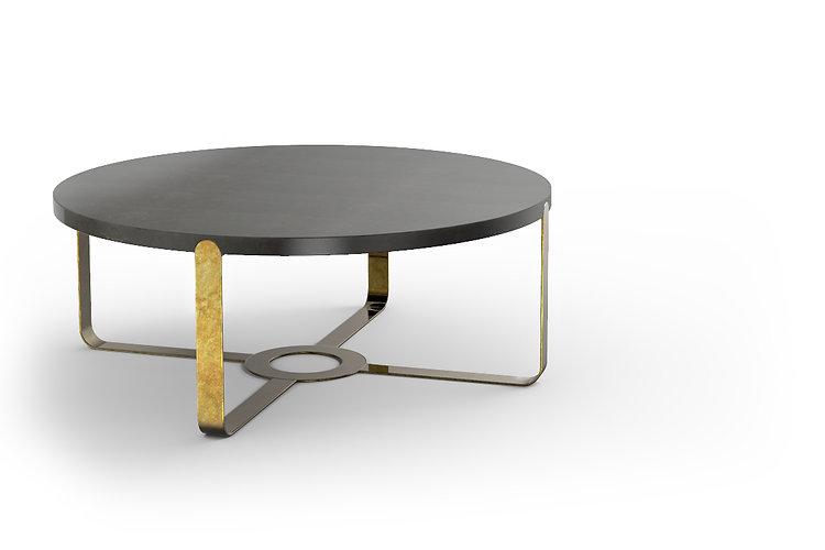 tavolino da caffè in marmo circolare gambe in metallo