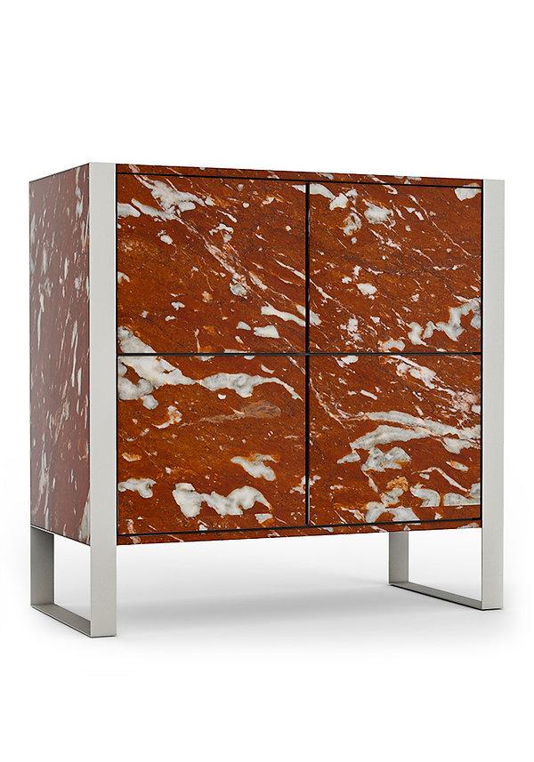 mobile aida in marmo rosso francia e gambe in metallo cromato