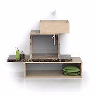 Sistema bagno componibile in marmo con lavabi assemblati e contenitori disponibili con o senza cassetti interni.