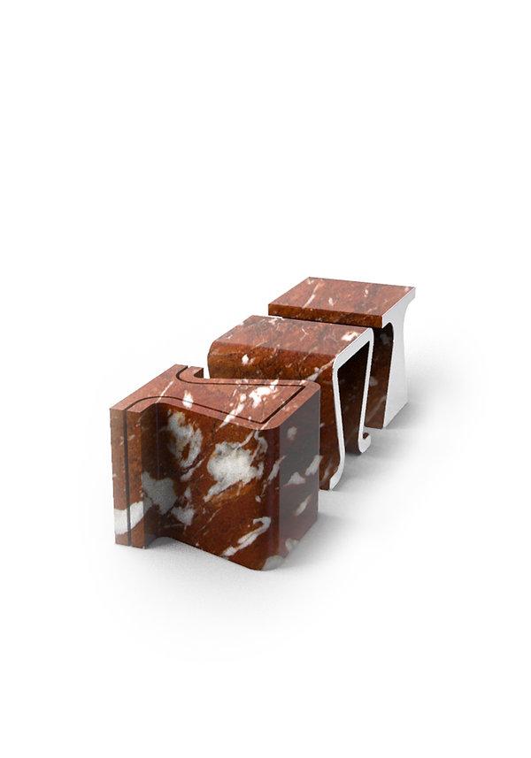 sgabello in marmo ricavato da un unico blocco e finiture in metallo