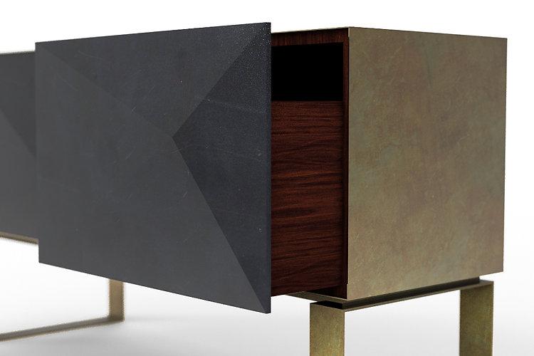 mobile punta in marmo con cassa in ottone