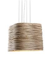 Lampada Strato large S a sospensione da interni in un unico pezzo scavato da massello in marmo travertino.