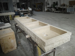 Tailor-made washbasin in Pietra d'Istria