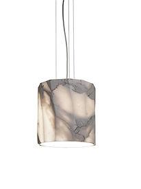 Lampada Fiamma 25S a sospensione da interni in marmo calacatta diametro 25 cm.