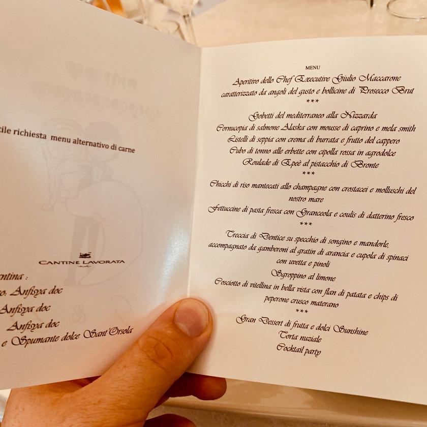 Southern Italian Wedding menu