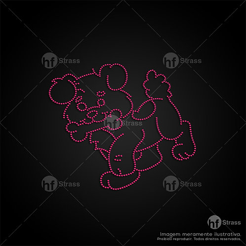 5 un. Desenho de strass Cachorro - Ref: 1631